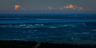1 Σεπτεμβρίου 2016 - πανοραμική άποψη που αγνοεί το Anchorage Αλάσκα στην ανατολή Στοκ Εικόνα