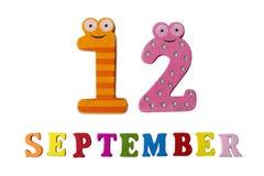 12 Σεπτεμβρίου σε ένα άσπρο υπόβαθρο, τις επιστολές και τους αριθμούς Στοκ φωτογραφία με δικαίωμα ελεύθερης χρήσης