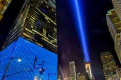 11 Σεπτεμβρίου φόρος στην ελαφριά πόλη της Νέας Υόρκης Στοκ Φωτογραφία