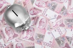Σερβικά χρήματα μετρητών Δηναρίων και ασημένια piggy τράπεζα στον πίνακα στοκ εικόνες με δικαίωμα ελεύθερης χρήσης
