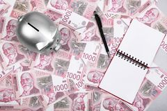 Σερβικά χρήματα μετρητών Δηναρίων και ασημένια piggy τράπεζα στον πίνακα στοκ φωτογραφία με δικαίωμα ελεύθερης χρήσης