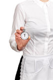 Σερβιτόρα που κρατά ένα χρονόμετρο με διακόπτη Στοκ Φωτογραφίες