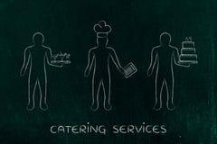 Σερβιτόρος, μάγειρας και αρχιμάγειρας ζύμης, έννοια των εργασιών στα τρόφιμα indust Στοκ Φωτογραφία