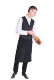 Σερβιτόρος με το μπουκάλι σαμπάνιας Στοκ εικόνα με δικαίωμα ελεύθερης χρήσης