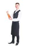 Σερβιτόρος με το μπουκάλι σαμπάνιας Στοκ φωτογραφία με δικαίωμα ελεύθερης χρήσης