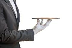 Σερβιτόρος που κρατά έναν δίσκο Στοκ Εικόνα
