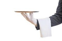 Σερβιτόρος που κρατά έναν δίσκο Στοκ Φωτογραφίες