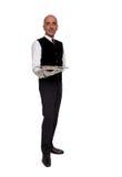 Σερβιτόρος που κρατά τον κενό δίσκο Στοκ φωτογραφίες με δικαίωμα ελεύθερης χρήσης