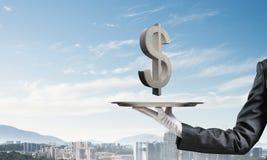 Σερβιτόρος που παρουσιάζει το σύμβολο δολαρίων στο δίσκο Στοκ Εικόνες