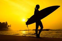Σερφ κοριτσιών Surfer που εξετάζει το ωκεάνιο ηλιοβασίλεμα παραλιών Σκιαγραφία W Στοκ Εικόνα