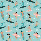 Σερφ παραλιών Το Surfers με τις ιστιοσανίδες, surfer οδηγά το άνευ ραφής διανυσματικό σχέδιο ιστιοσανίδων κυμάτων και καλοκαιριού διανυσματική απεικόνιση
