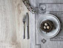 Σε έναν πίνακα μια πετσέτα με ένα πιάτο ένα μαχαίρι δικράνων μια φωλιά με ένα αυγό ενός κλαδίσκου ιτιών Στοκ εικόνα με δικαίωμα ελεύθερης χρήσης