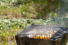 Σε έναν σίδηρο ο ορειχαλκουργός, που στέκεται στον κήπο, τηγάνισε τα ψάρια με Στοκ εικόνα με δικαίωμα ελεύθερης χρήσης
