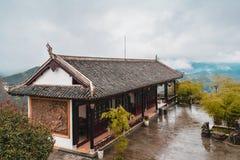 Σε ένα βουνό τσαγιού στην Κίνα υπήρξε ένα σπίτι τσαγιού Στοκ εικόνα με δικαίωμα ελεύθερης χρήσης