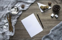 Σε ένα ξύλινο υπόβαθρο ένα φύλλο και μια μάνδρα γράφουν marshmallows και τα γλυκά, μια κούπα με το κακάο βρίσκονται ένας λειωμένο Στοκ Εικόνες