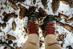 Σε ένα χιονώδες δάσος βουνών, κινηματογράφηση σε πρώτο πλάνο των μποτών με τις κόκκινες δαντέλλες επάνω Στοκ φωτογραφία με δικαίωμα ελεύθερης χρήσης