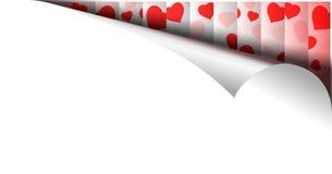 Σελίδα εγγράφου με το σχέδιο καρδιών στην μπούκλα Στοκ Φωτογραφία
