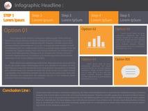 Σελίδα επιλογών infographics χρώματος επίσης corel σύρετε το διάνυσμα απεικόνισης Στοκ Εικόνες