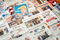 Σελίδα κάλυψης εφημερίδων με το Ντόναλντ Τραμπ Στοκ Εικόνα