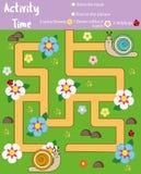 Σελίδα δραστηριότητας για τα παιδιά Εκπαιδευτικό παιχνίδι Λαβύρινθος και μετρώντας παιχνίδι Οι δεινόσαυροι βοήθειας συναντιούνται απεικόνιση αποθεμάτων