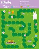 Σελίδα δραστηριότητας για τα παιδιά Εκπαιδευτικό παιχνίδι Ο λαβύρινθος και βρίσκει τα αντικείμενα Θέμα ζώων Το κουνέλι βοήθειας β διανυσματική απεικόνιση