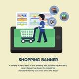 Σε απευθείας σύνδεση έμβλημα αγορών Άνθρωποι που ψωνίζουν στα προϊόντα υπεραγορών και αγοράς από το μανάβικο απεικόνιση αποθεμάτων