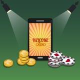 Σε απευθείας σύνδεση έμβλημα χαρτοπαικτικών λεσχών με ένα κινητό τηλέφωνο, τα τσιπ και τα χρήματα απεικόνιση αποθεμάτων