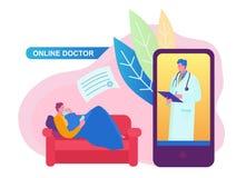 Σε απευθείας σύνδεση έννοια γιατρών με το χαρακτήρα Μπορέστε να χρησιμοποιήσετε για το έμβλημα Ιστού, infographics, εικόνες ηρώων στοκ εικόνες