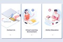 Σε απευθείας σύνδεση έννοια εκπαίδευσης Σύγχρονο ενδιάμεσο με τον χρήστη UX, πρότυπο οθόνης UI για το κινητό έξυπνο τηλέφωνο ή απ απεικόνιση αποθεμάτων