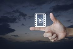 Σε απευθείας σύνδεση έννοια κινηματογράφων Στοκ Φωτογραφίες