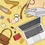 Σε απευθείας σύνδεση έννοια υπολογιστών γραφείου καταστημάτων με το lap-top, το γραφείο, τις τσάντες, τις πιστωτικές κάρτες, τα κ ελεύθερη απεικόνιση δικαιώματος