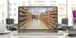 Σε απευθείας σύνδεση αγορές υπεραγορών Υπεραγορά θαμπάδων σε μια οθόνη lap-top τρισδιάστατη απεικόνιση Στοκ Φωτογραφία