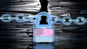 Σε απευθείας σύνδεση ασφάλεια, που προστατεύει τις πληροφορίες και τα στοιχεία από τους χάκερ Στοκ εικόνα με δικαίωμα ελεύθερης χρήσης