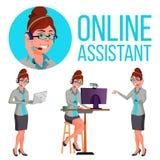 Σε απευθείας σύνδεση βοηθητικό διάνυσμα γυναικών Συμβουλευτικός πελάτης Βοήθεια πελατών απεικόνιση ελεύθερη απεικόνιση δικαιώματος