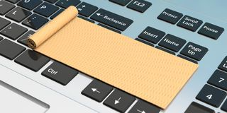 Σε απευθείας σύνδεση γιόγκα Χαλί άσκησης στο πληκτρολόγιο υπολογιστών τρισδιάστατη απεικόνιση διανυσματική απεικόνιση