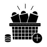 Σε απευθείας σύνδεση εικονίδιο αγορών, διανυσματική απεικόνιση, σημάδι στο απομονωμένο υπόβαθρο απεικόνιση αποθεμάτων