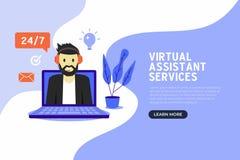 Σε απευθείας σύνδεση εικονικό βοηθητικό επίπεδο σχέδιο εμβλημάτων υπηρεσιών απεικόνιση αποθεμάτων