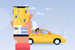 Σε απευθείας σύνδεση εφαρμογή υπηρεσιών ταξί Διανομή μεταφορών ελεύθερη απεικόνιση δικαιώματος