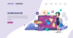 Σε απευθείας σύνδεση κατάστημα πελατών πωλήσεις, αγορά, ηλεκτρονικό σε απευθείας σύνδεση κατάστημα, εμπορικό ηλεκτρονικό εμπόριο ελεύθερη απεικόνιση δικαιώματος