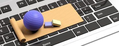 Σε απευθείας σύνδεση κατηγορίες pilates Χαλί και pilates σφαίρα άσκησης στο πληκτρολόγιο υπολογιστών τρισδιάστατη απεικόνιση διανυσματική απεικόνιση