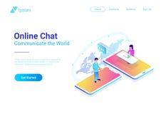 Σε απευθείας σύνδεση συνομιλία επικοινωνίας isometric Άνθρωποι talkin διανυσματική απεικόνιση