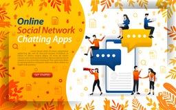 Σε απευθείας σύνδεση συνομιλία apps κοινωνικό δίκτυο για να στείλει τα μηνύματα κινητά apps για τη συνομιλία, διανυσματικό ilustr ελεύθερη απεικόνιση δικαιώματος