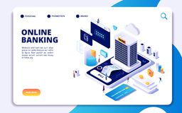 Σε απευθείας σύνδεση τραπεζική isometric προσγειωμένος σελίδα Μεταφορές χρημάτων Διαδικτύου, ασφαλές smartphone πληρωμής που πληρ διανυσματική απεικόνιση