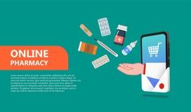 Σε απευθείας σύνδεση φαρμακείο Έννοια φαρμακείων στο επίπεδο ύφος που απομονώνεται ελεύθερη απεικόνιση δικαιώματος