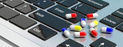 Σε απευθείας σύνδεση φαρμακείο Κάψες χαπιών στο πληκτρολόγιο υπολογιστών τρισδιάστατη απεικόνιση απεικόνιση αποθεμάτων