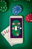 Σε απευθείας σύνδεση χαρτοπαικτική λέσχη Κινητή χαρτοπαικτική λέσχη Στοκ Φωτογραφίες