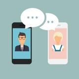 Σε απευθείας σύνδεση άνδρας και γυναίκα συνομιλίας Συνομιλία ζεύγους σε ένα τηλέφωνο κυττάρων cartoon διανυσματική απεικόνιση