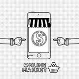 Σε απευθείας σύνδεση έννοια αγορών και ηλεκτρονικού εμπορίου ελεύθερη απεικόνιση δικαιώματος