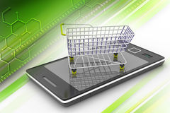 Σε απευθείας σύνδεση έννοια αγορών με το έξυπνο τηλέφωνο Στοκ εικόνα με δικαίωμα ελεύθερης χρήσης