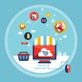 Σε απευθείας σύνδεση έννοια αγορών στο επίπεδο σχέδιο Στοκ εικόνες με δικαίωμα ελεύθερης χρήσης